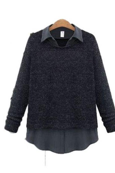 Long-Sleeve Collar Layer Knitted Sweater