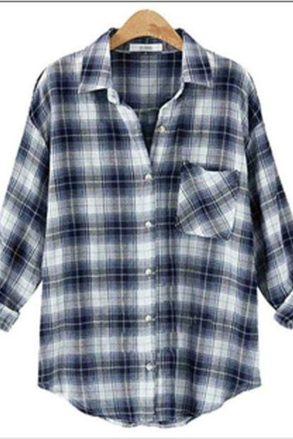 Casual Plaid Long-sleeve Button Collared Shirt With Pocket